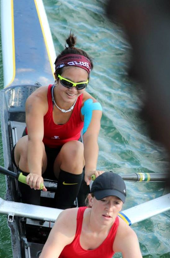 My lightweight 2x partner and I (in bow) rowing for Leander Boat Club