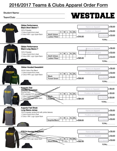 Westdale TEAMS & CLUBS Apparel Order Form_Page_1